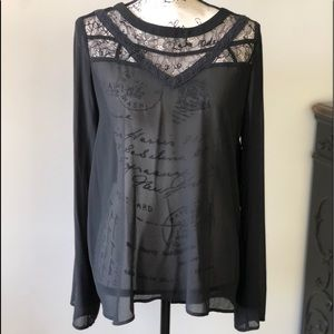 Doe and Rae beautiful sheer and lace top